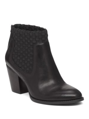 Yeni Leather and Woven Elastic Ankle Boots by Jessica Simpson