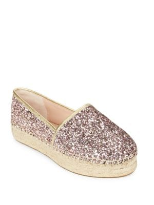 Lindstoo Leather and Glitter Platform Flats by Kate Spade New York