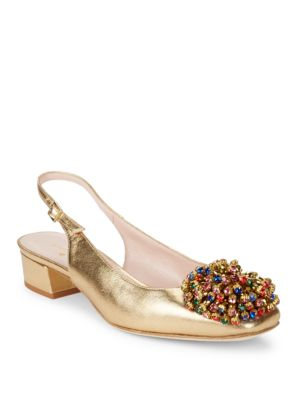 Maren Embellished Leather Slingback Heels by Kate Spade New York