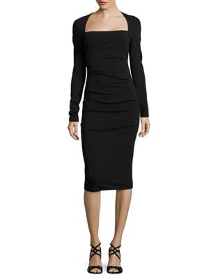 Felicity Solid Cinched Dress by Nicole Miller