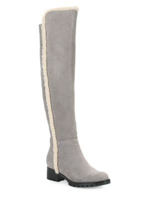 Sherpa-Trimmed Knee-High Leather Boots by Karl Lagerfeld Paris