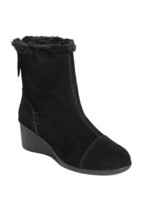 Bravery Faux Fur Trim Suede Ankle Boots by Aerosoles