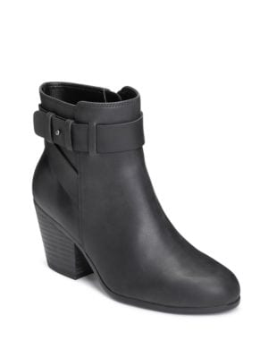 Inevitable Leather Zipped Ankle Boots by Aerosoles