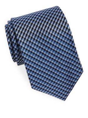 Classic Plaid Silk Tie by Black Brown