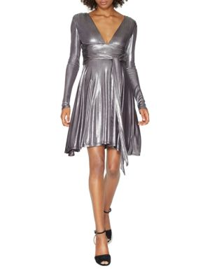 Long Sleeve Metallic Jersey Draped Dress by Halston Heritage