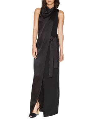 Draped Belted Satin Gown by Halston Heritage