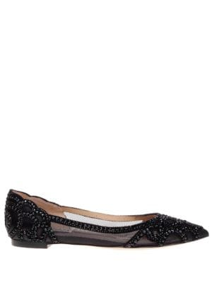 Gigi Point Toe Embellished Flats by Badgley Mischka