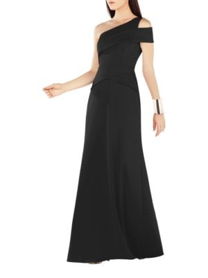 Annely One Shoulder Peplum A-Line Gown by BCBGMAXAZRIA