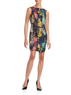 Jacquard Embellished Sleeveless Sheath Dress by Ellen Tracy