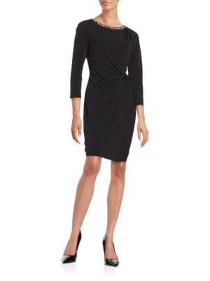 Side Ruched Embellished Three Quarter Sleeve Sheath Dress by Ellen Tracy