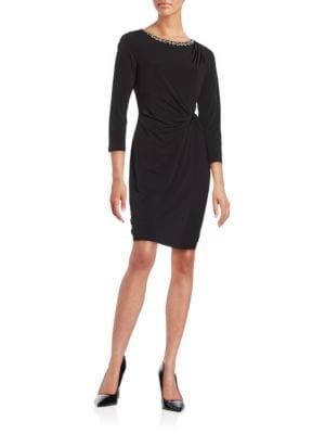 Side Ruched Embellished Three Quarter Sleeve Sheath Dress by Ellen Tracy