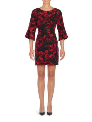 Three Quarter Flutter Cuff Floral Sheath Dress by Cynthia Steffe