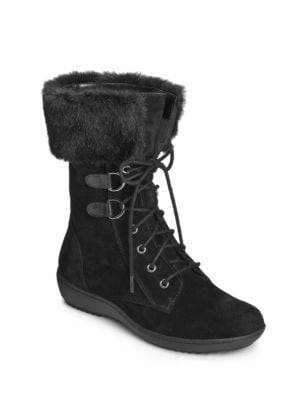 Pinelands Fleece Trimmed Suede Mid-Calf Boots by Aerosoles