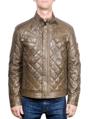 Quilted Leather Moto Jacket by Boston Harbour