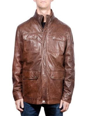 Vintage Leather Field Jacket by Boston Harbour