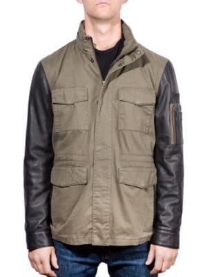 Mix Media Leather-Blend Field Jacket by Boston Harbour