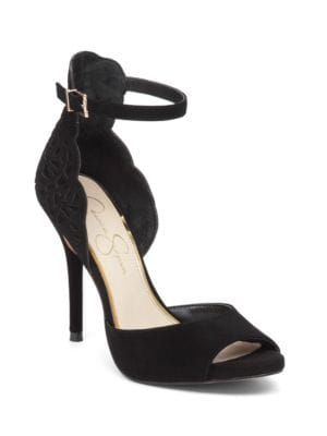 Bellona Scalloped Kid Suede Sandals by Jessica Simpson