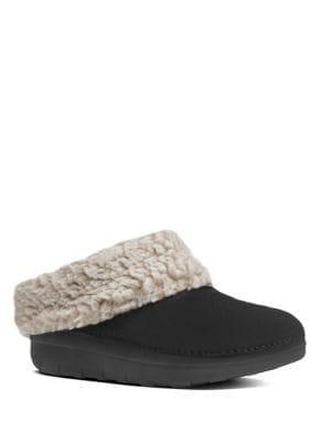 Woolen Collar Slip-On Mules by FitFlop