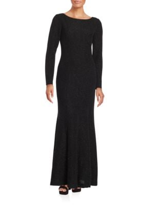 Solid Long Sleeve Gown by Eliza J