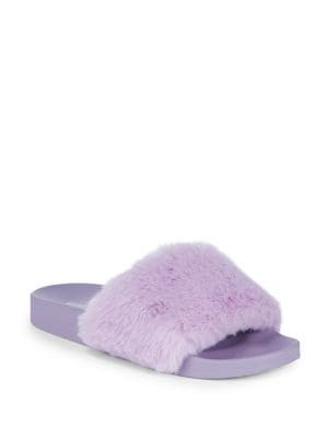 Softey Faux Fur Slip-On Sandals by Steve Madden