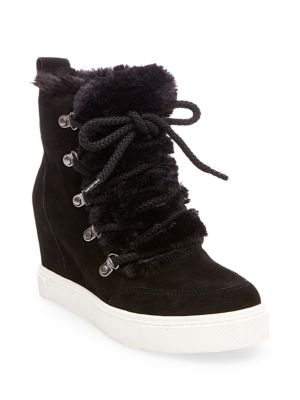 Lift Round Toe Faux Fur Ankle Boots by Steve Madden