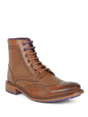 Sealls 3 Leather Wingtip Brogue Boots by Ted Baker London