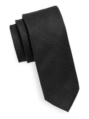 Textured Wool-Blend Tie by Black Brown