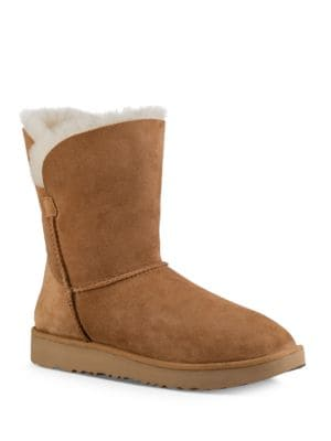 Classic Cuff Fur Suede Ankle Boots by UGG