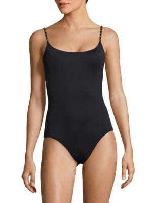 Chain-Accented One-Piece Swimsuit by MICHAEL MICHAEL KORS