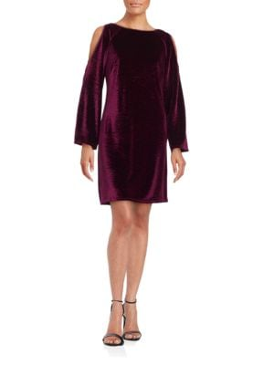 Velvet Cold-Shoulder Sheath Dress by Adrianna Papell