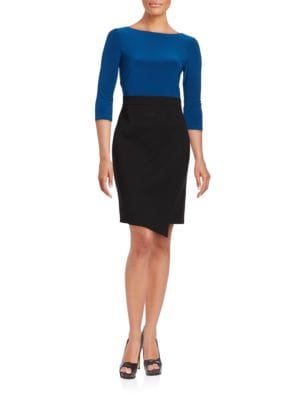 Three Quarter Sleeve Colorblocked Asymmetrical Sheath Dress by Adrianna Papell