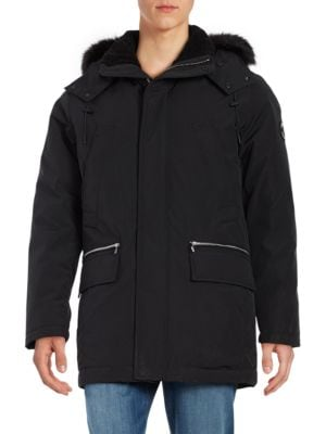 Sherpa-Lined and Faux-Fur Trimmed Hooded Parka by Karl Lagerfeld Paris