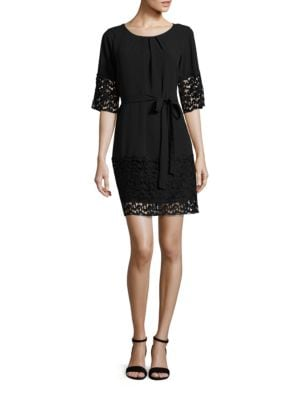 Belted Lace-Trimmed Dress by Tahari Arthur S. Levine
