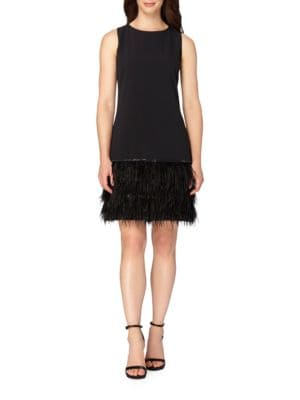 Feathered Hem Sleeveless Sheath Dress by Tahari Arthur S. Levine