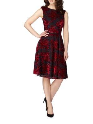 Velvet Floral Motif A-Line Dress by Tahari Arthur S. Levine