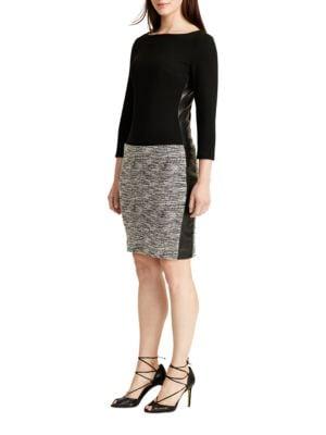 Three Quarter Sleeve Faux Leather-Trimmed Sheath Dress by Lauren Ralph Lauren