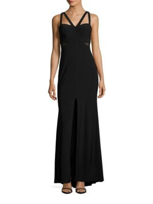 Mesh-Accented Column Gown by Xscape