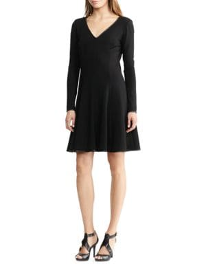 Long Sleeve Fit-and-Flare Dress by Lauren Ralph Lauren