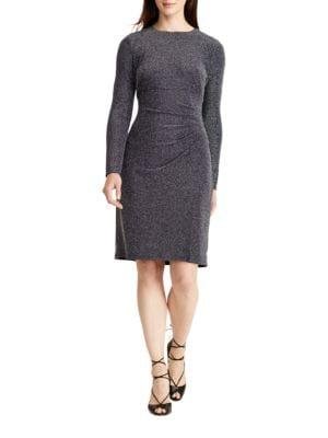 Long Sleeve Metallic Jacquard Sheath Dress by Lauren Ralph Lauren