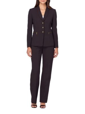 Solid Button-Accented Suit by Tahari Arthur S. Levine