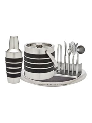 NinePiece Stainless Steel and Leather Barware Set