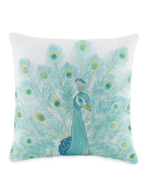 Aquarius Embroidered Linen Blend Peacock Decorative Pillow