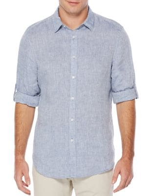 Textured Rolled-Sleeve Linen Shirt by Perry Ellis