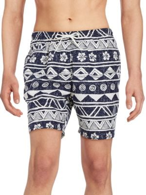 Drawstring Adjustable Tropical Print Swim Trunks by Trunks Surf + Swim