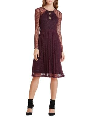 Long Sleeve Dotted Mesh Midi A-Line Dress by BCBGeneration