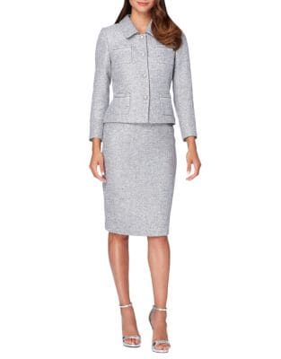 Belted Jacket and Pencil Skirt Suit Set by Tahari Arthur S. Levine