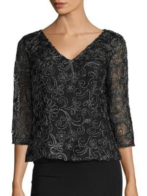 Metallic Embroidered Top by Alex Evenings