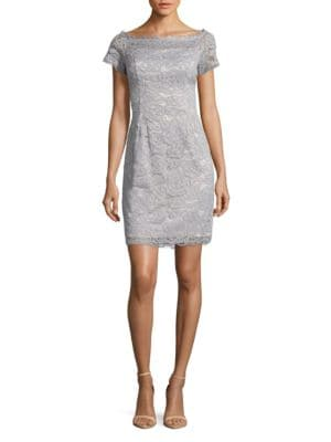 Cap-Sleeve Lace Sheath Dress by Adrianna Papell