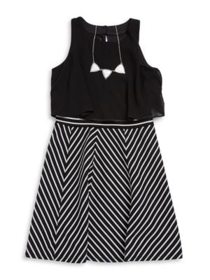 Girls Striped Popover Dress and Necklace Set