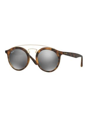 46 MM Gradient Double Bridge Round Sunglasses by Ray-Ban